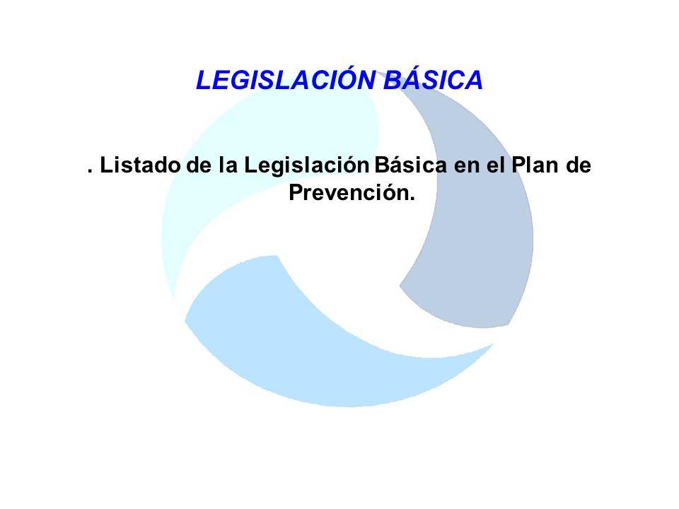 . Listado de la Legislación Básica en el Plan de Prevención.