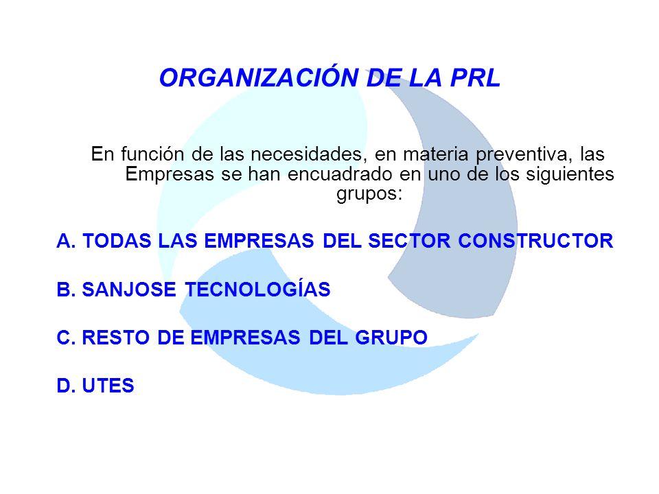 ORGANIZACIÓN DE LA PRL En función de las necesidades, en materia preventiva, las Empresas se han encuadrado en uno de los siguientes grupos: