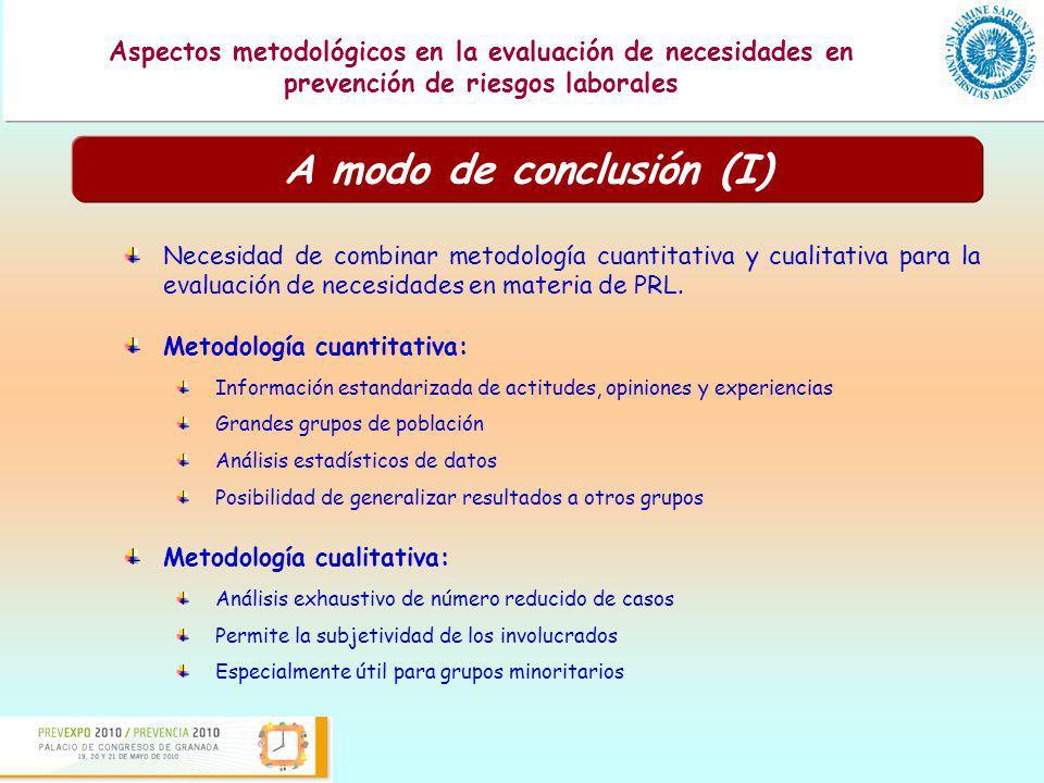 A modo de conclusión (I)