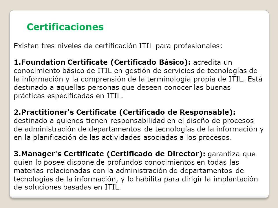 Certificaciones Existen tres niveles de certificación ITIL para profesionales: