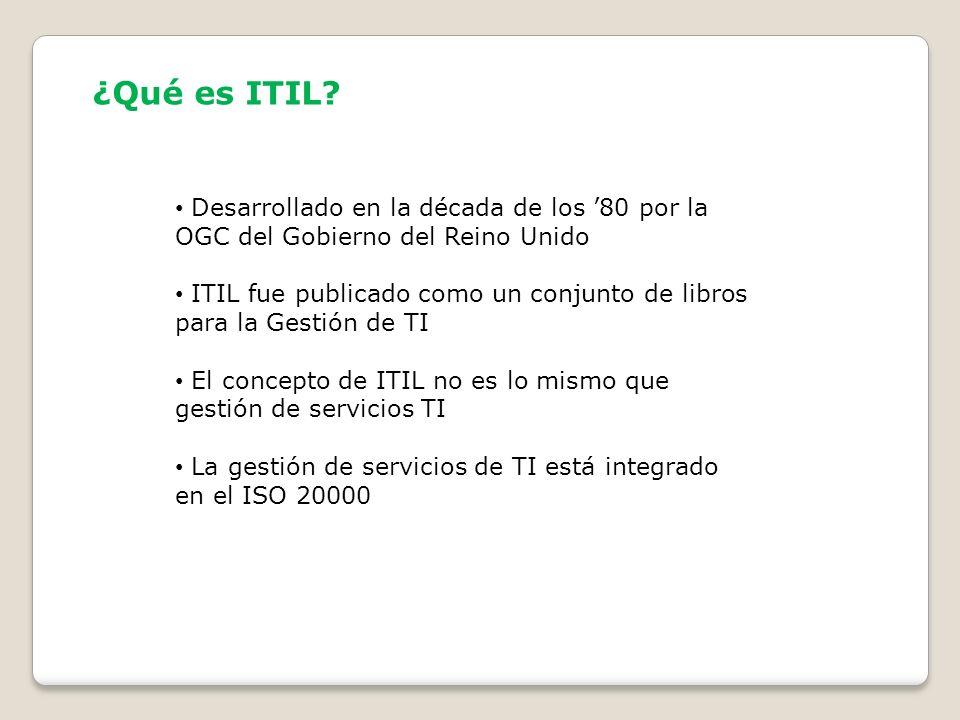 ¿Qué es ITIL Desarrollado en la década de los '80 por la OGC del Gobierno del Reino Unido.