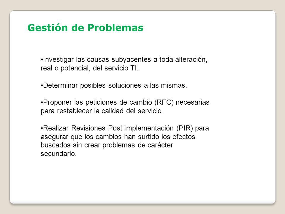 Gestión de Problemas Investigar las causas subyacentes a toda alteración, real o potencial, del servicio TI.