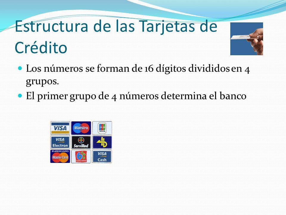 Estructura de las Tarjetas de Crédito