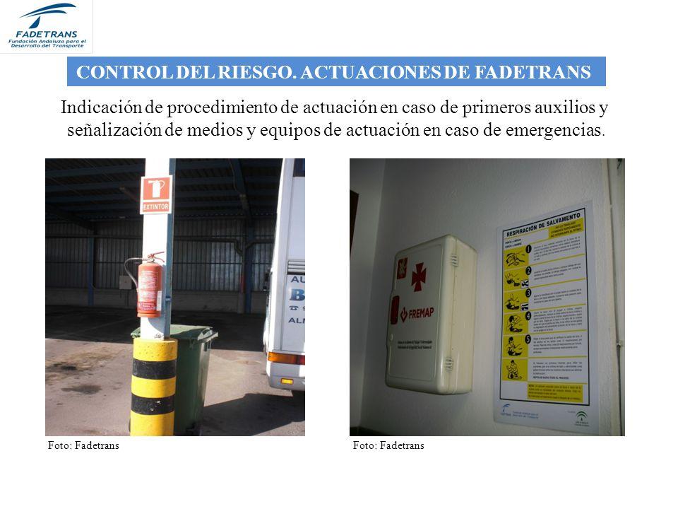 señalización de medios y equipos de actuación en caso de emergencias.