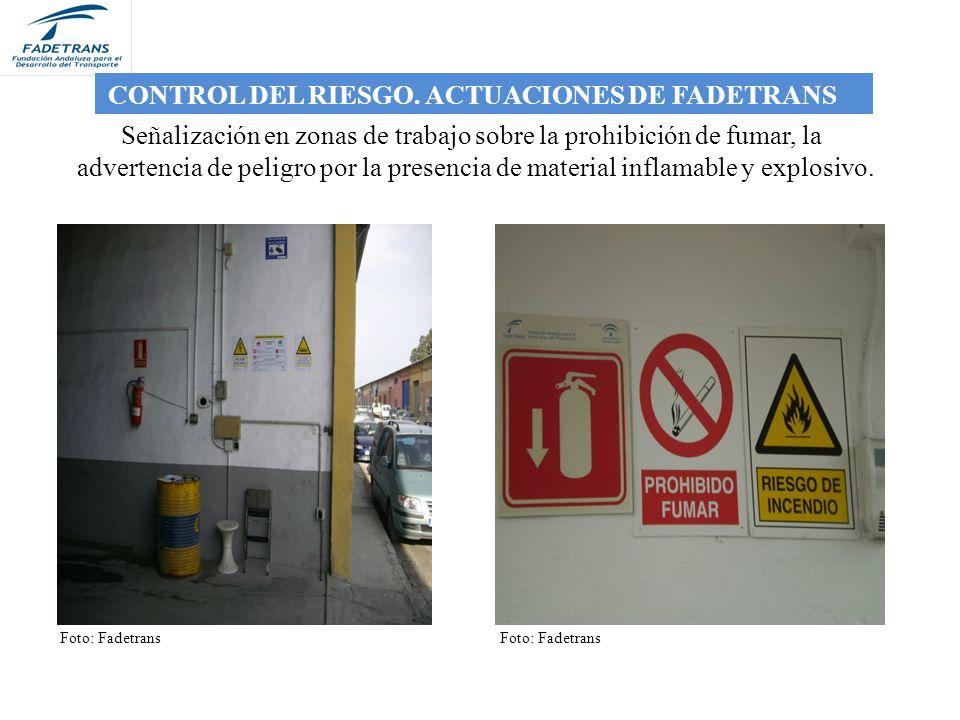 Señalización en zonas de trabajo sobre la prohibición de fumar, la