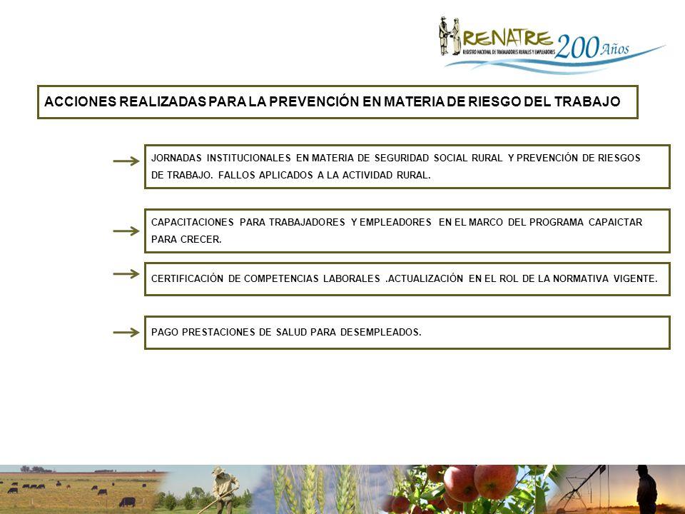 ACCIONES REALIZADAS PARA LA PREVENCIÓN EN MATERIA DE RIESGO DEL TRABAJO