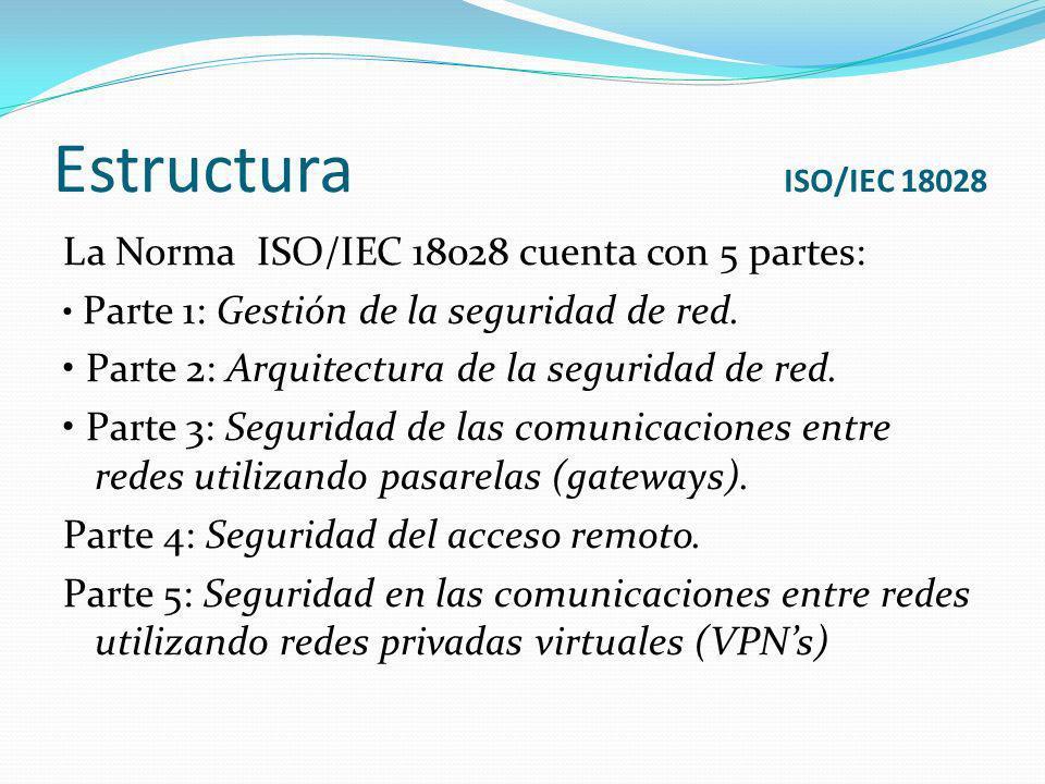 Estructura ISO/IEC 18028 La Norma ISO/IEC 18028 cuenta con 5 partes: