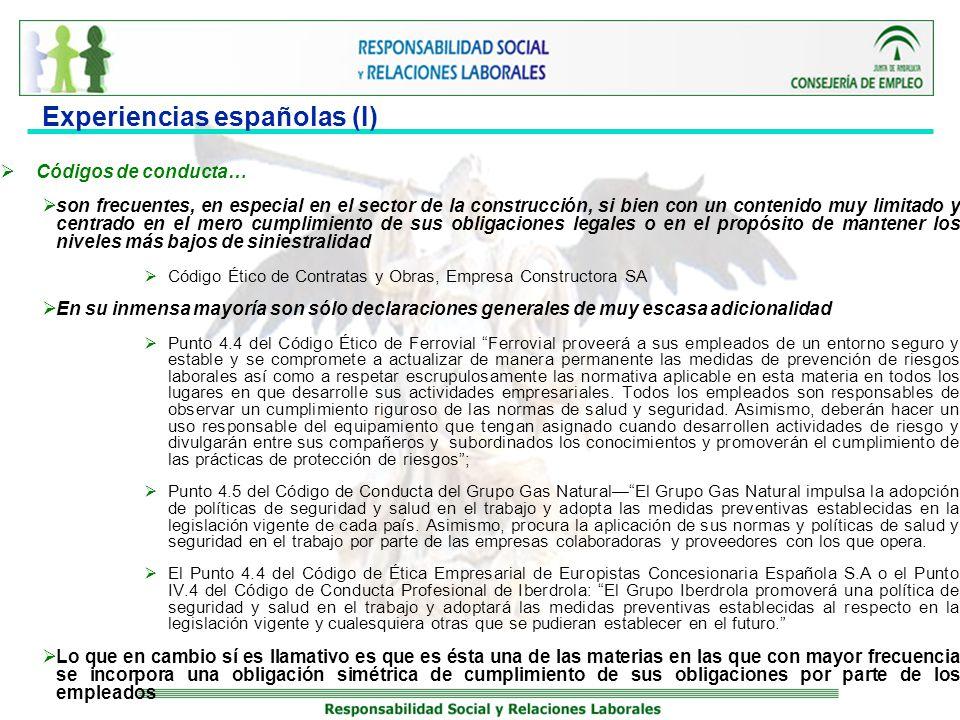 Experiencias españolas (I)