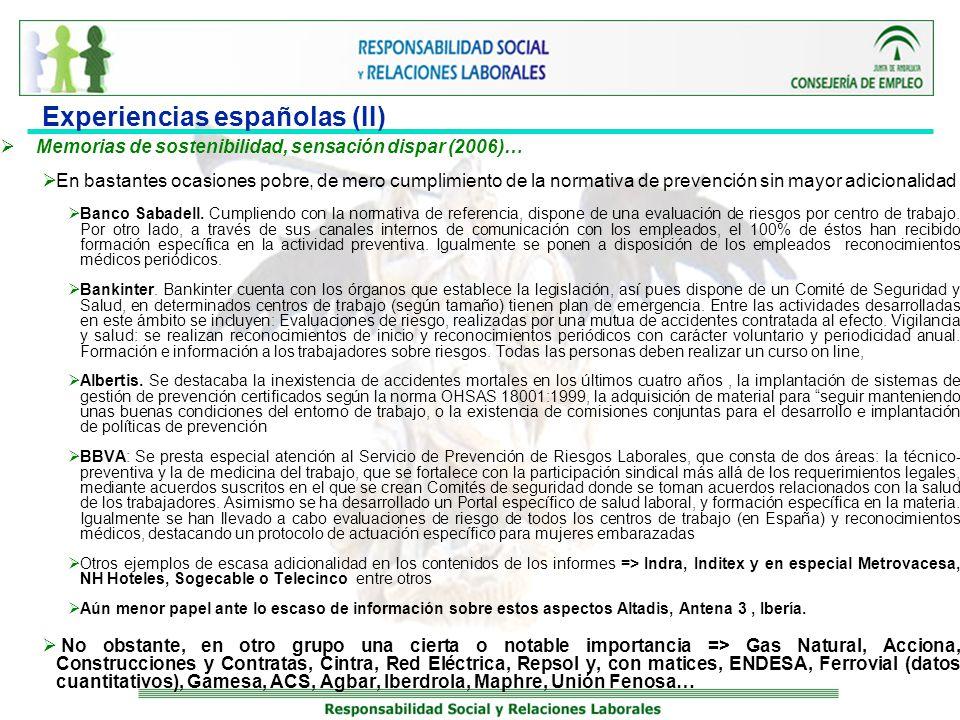 Experiencias españolas (II)