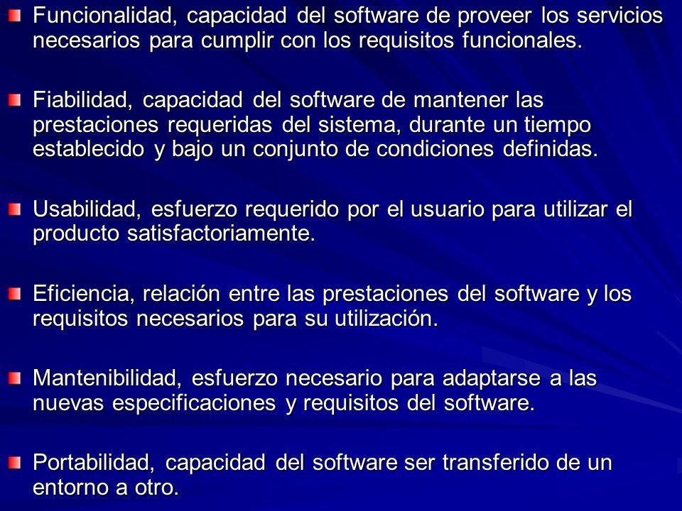 Funcionalidad, capacidad del software de proveer los servicios necesarios para cumplir con los requisitos funcionales.