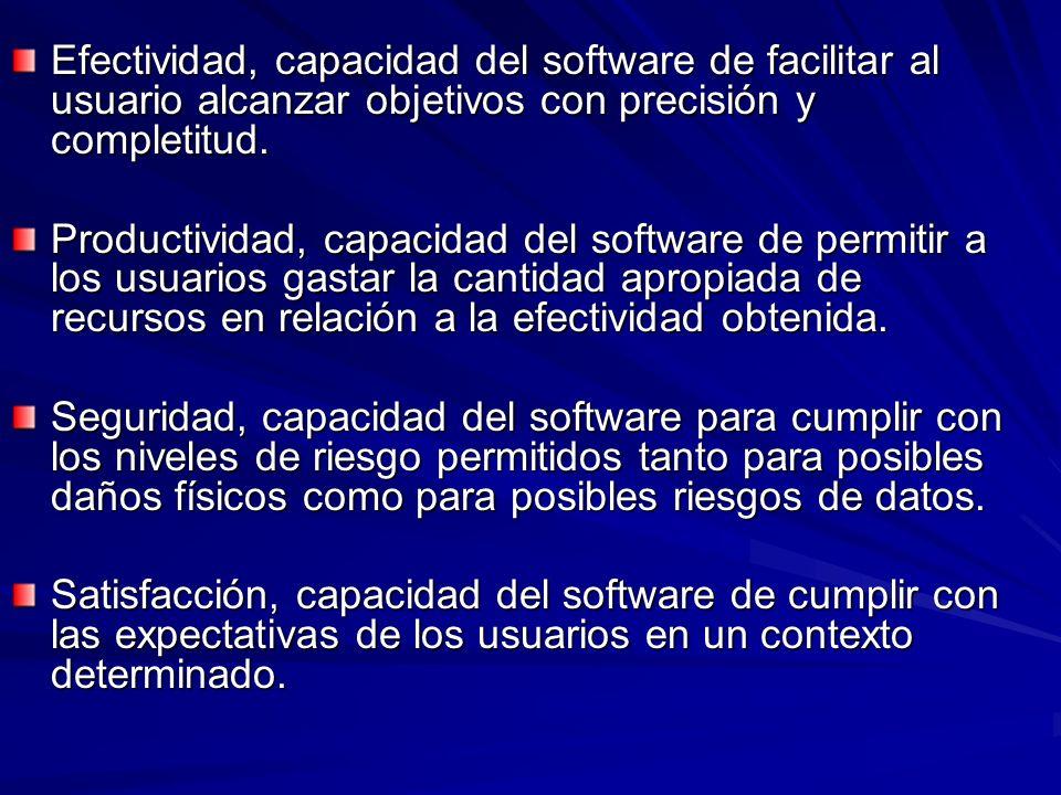 Efectividad, capacidad del software de facilitar al usuario alcanzar objetivos con precisión y completitud.
