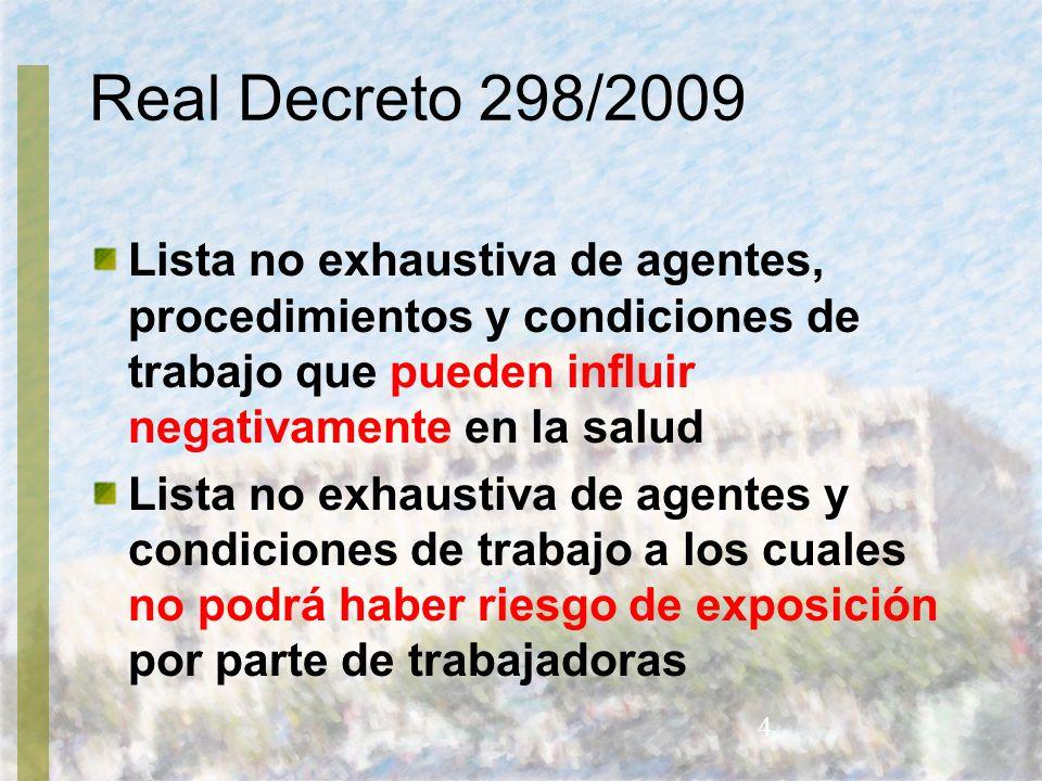 Real Decreto 298/2009 Lista no exhaustiva de agentes, procedimientos y condiciones de trabajo que pueden influir negativamente en la salud.
