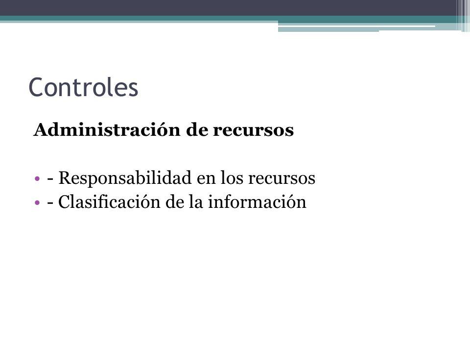 Controles Administración de recursos - Responsabilidad en los recursos