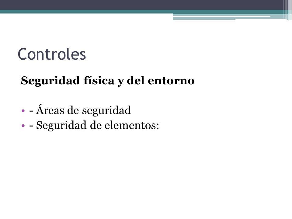 Controles Seguridad física y del entorno - Áreas de seguridad