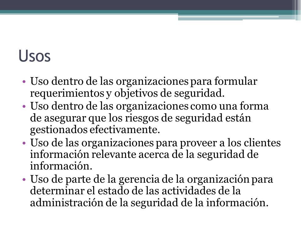 Usos Uso dentro de las organizaciones para formular requerimientos y objetivos de seguridad.