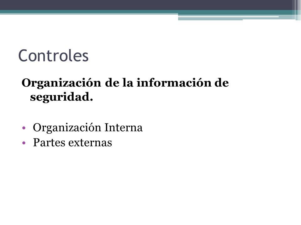 Controles Organización de la información de seguridad.