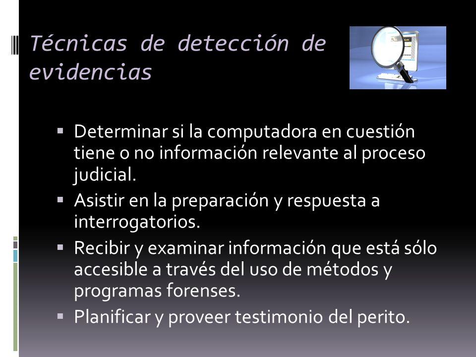 Técnicas de detección de evidencias