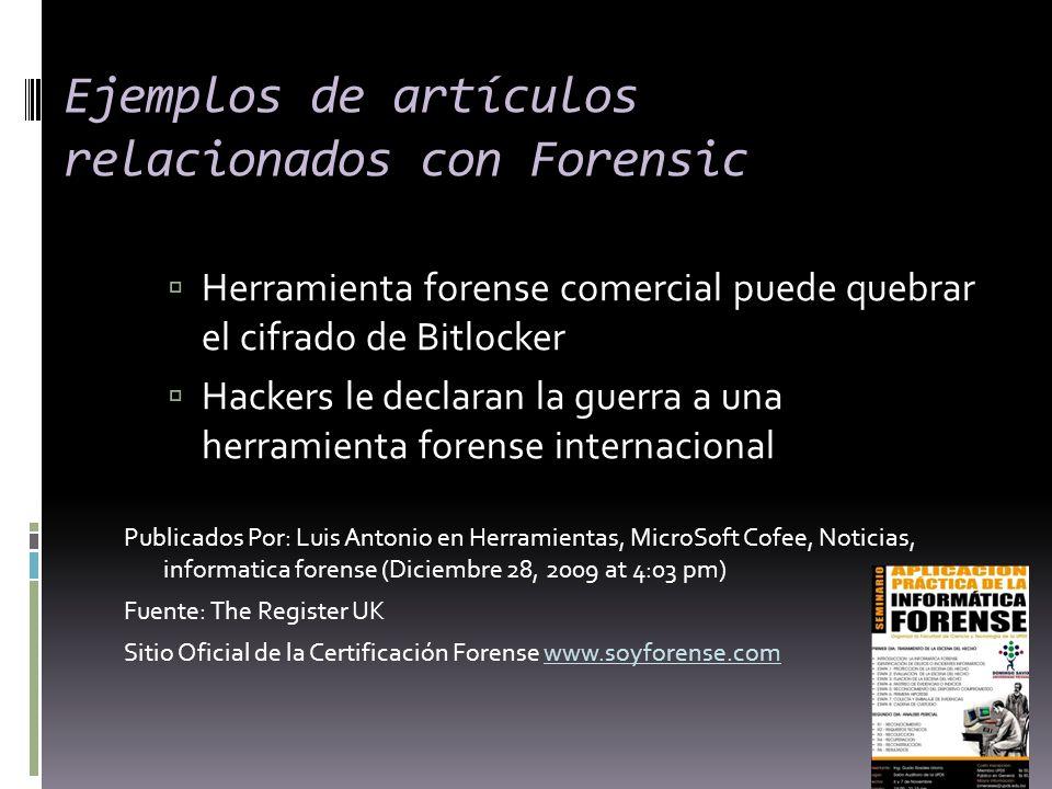 Ejemplos de artículos relacionados con Forensic