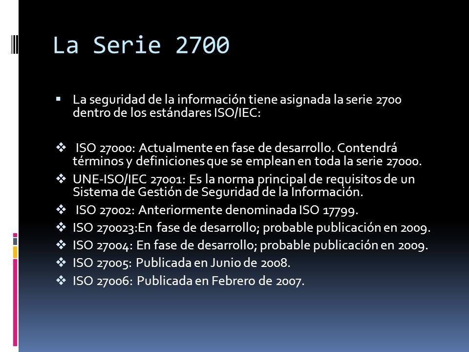 La Serie 2700 La seguridad de la información tiene asignada la serie 2700 dentro de los estándares ISO/IEC: