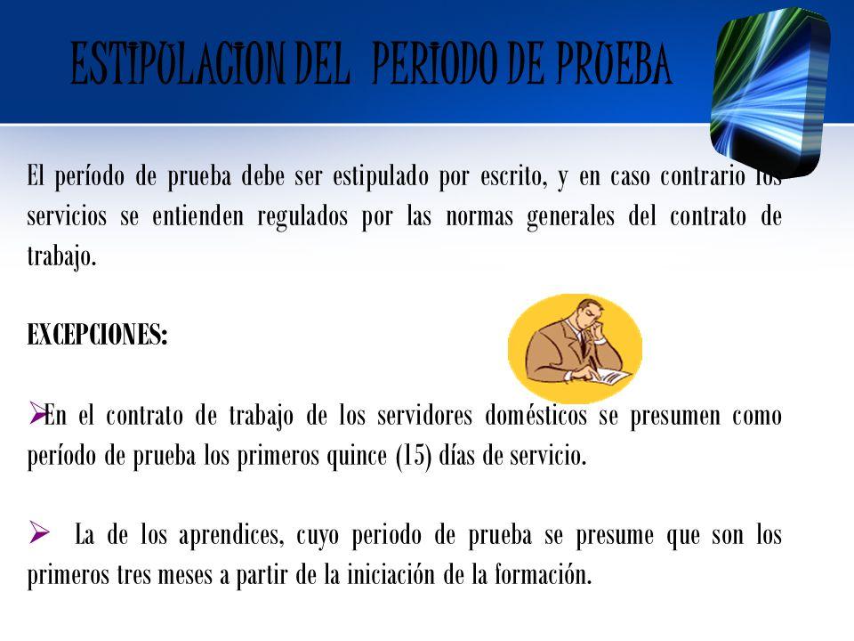 ESTIPULACION DEL PERIODO DE PRUEBA