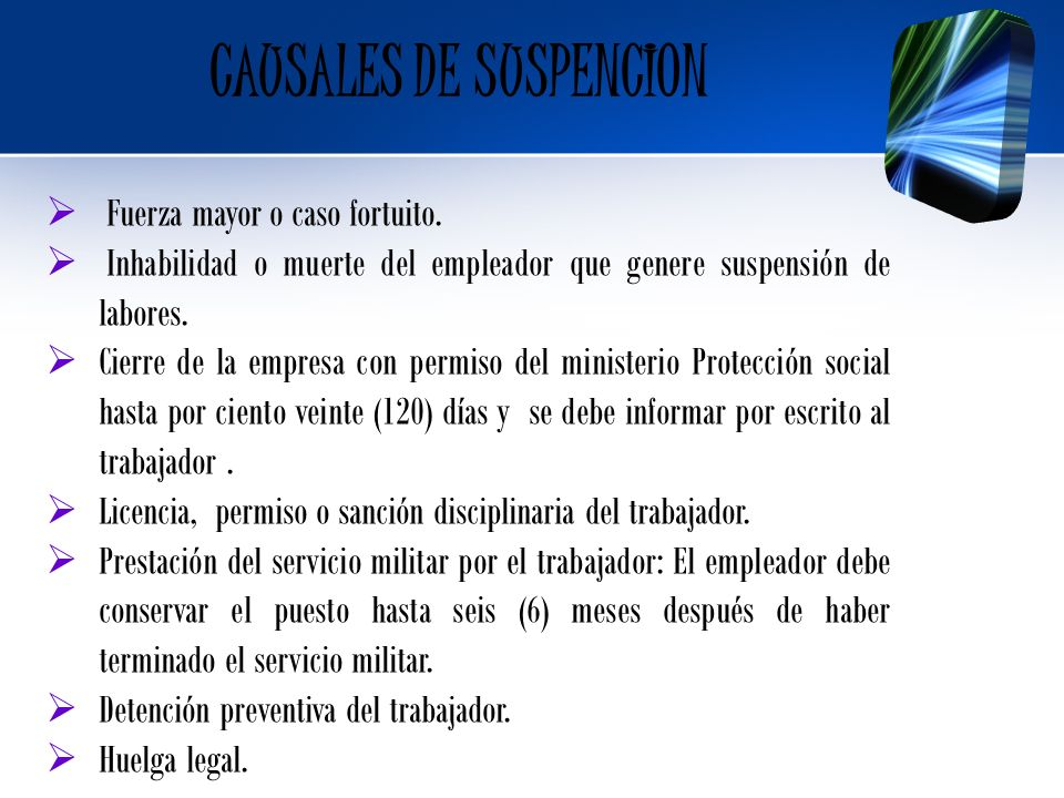 CAUSALES DE SUSPENCION
