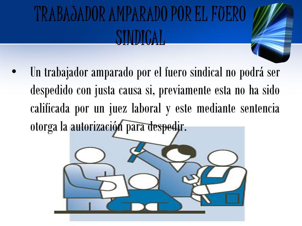 TRABAJADOR AMPARADO POR EL FUERO SINDICAL