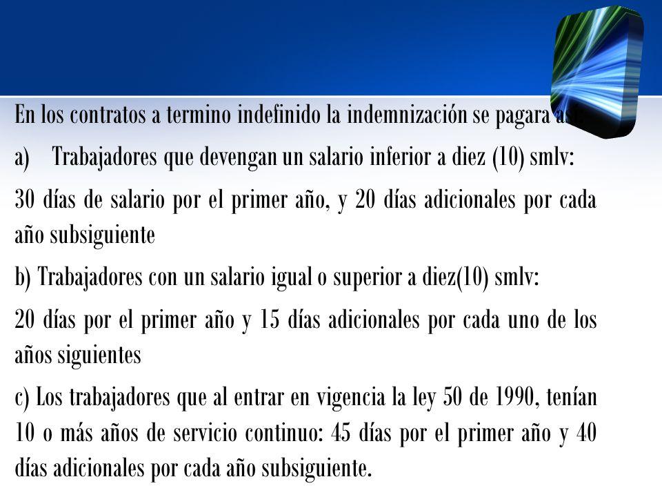 En los contratos a termino indefinido la indemnización se pagara así: