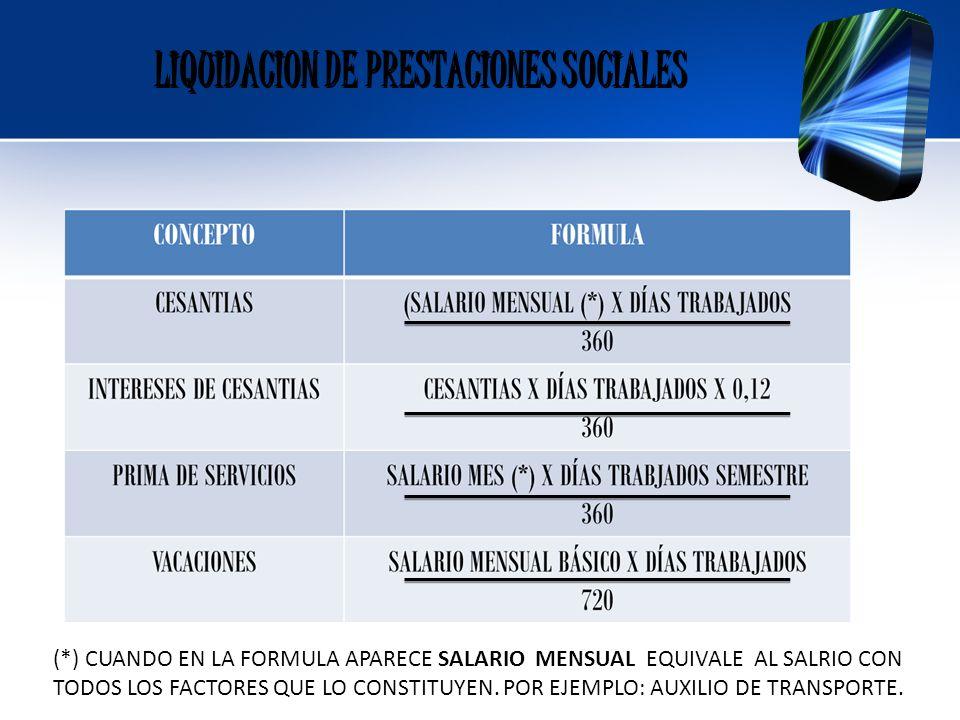LIQUIDACION DE PRESTACIONES SOCIALES
