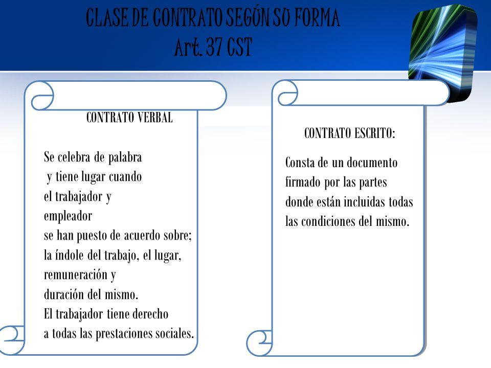 CLASE DE CONTRATO SEGÚN SU FORMA