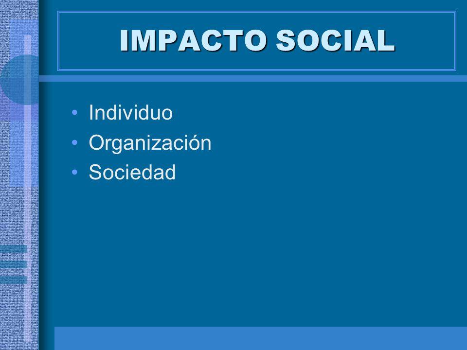 IMPACTO SOCIAL Individuo Organización Sociedad