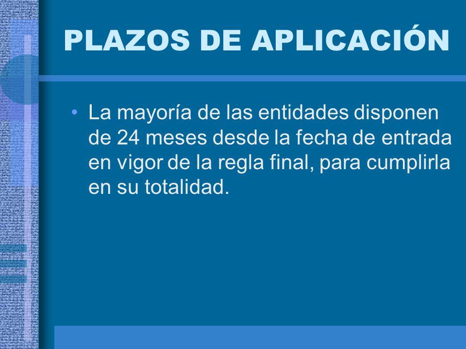 PLAZOS DE APLICACIÓN