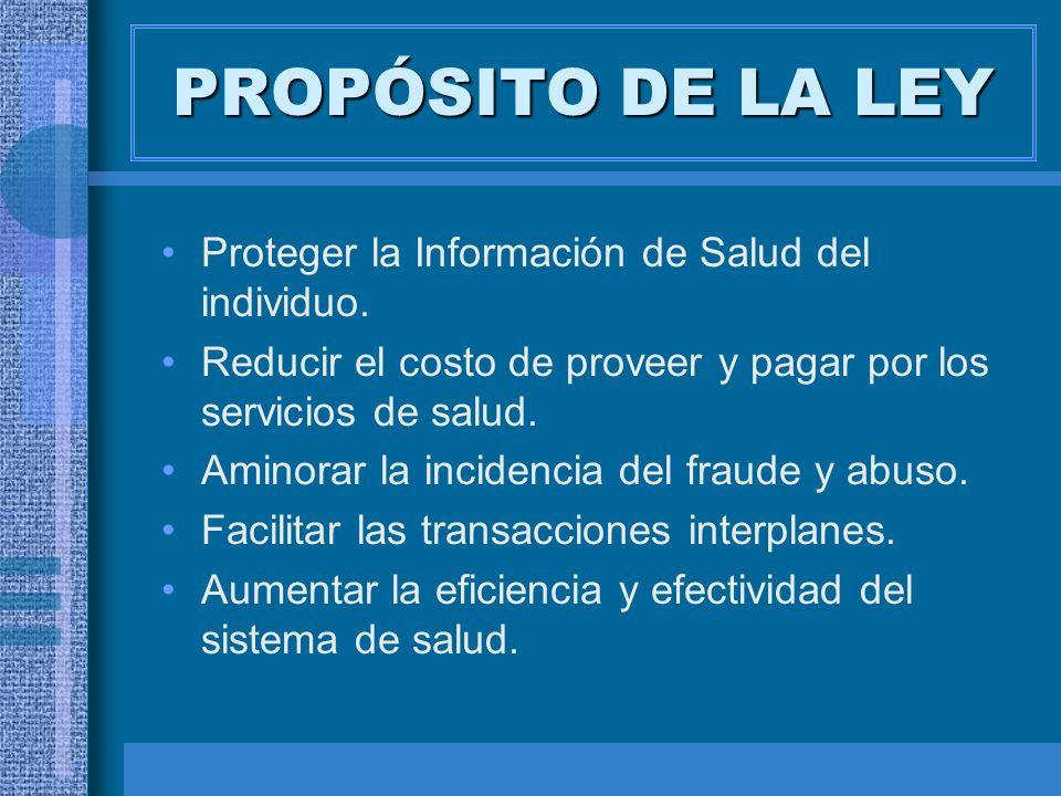 PROPÓSITO DE LA LEY Proteger la Información de Salud del individuo.