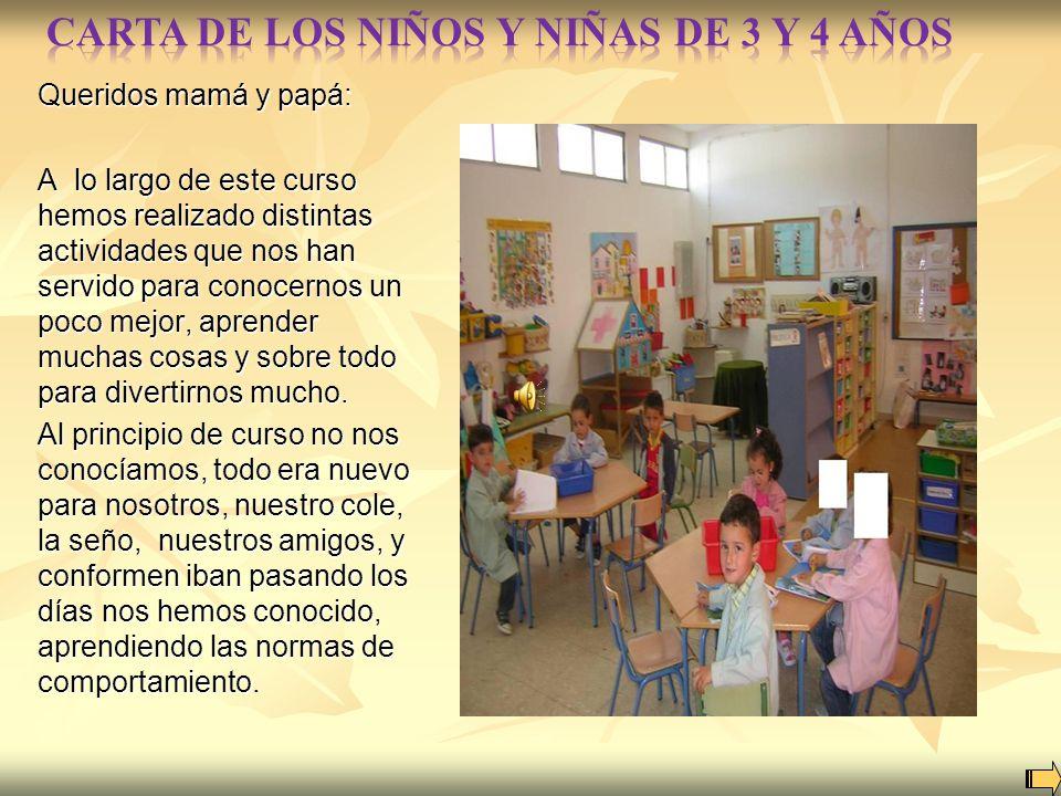 CARTA DE LOS NIÑOS Y NIÑAS DE 3 Y 4 AÑOS