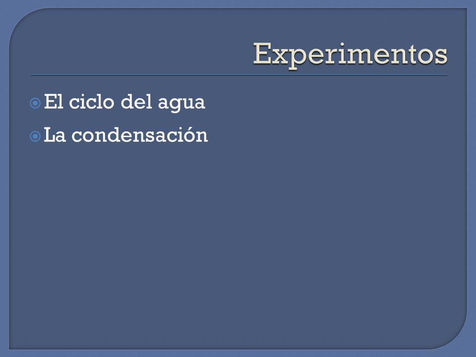 Experimentos El ciclo del agua La condensación