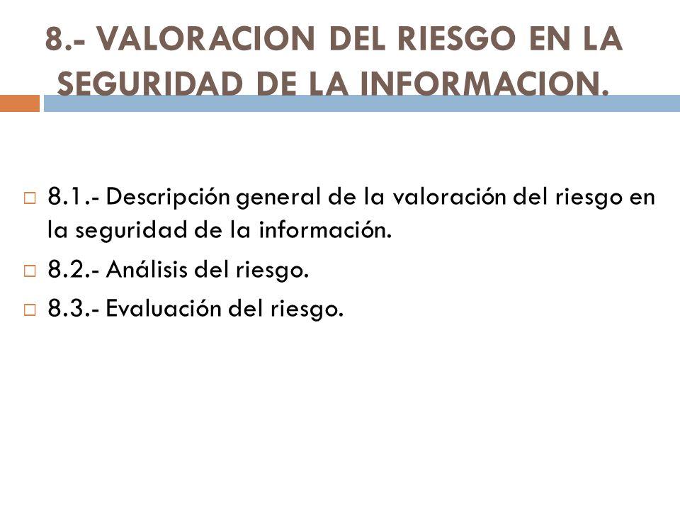 8.- VALORACION DEL RIESGO EN LA SEGURIDAD DE LA INFORMACION.