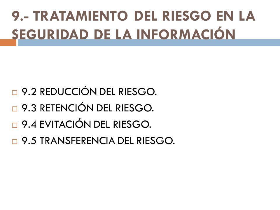 9.- TRATAMIENTO DEL RIESGO EN LA SEGURIDAD DE LA INFORMACIÓN