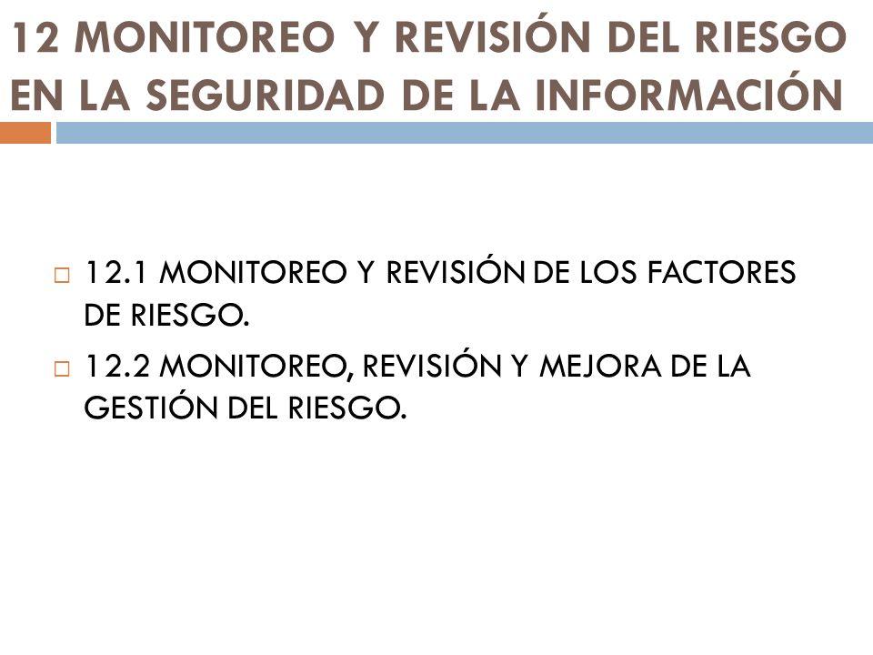 12 MONITOREO Y REVISIÓN DEL RIESGO EN LA SEGURIDAD DE LA INFORMACIÓN