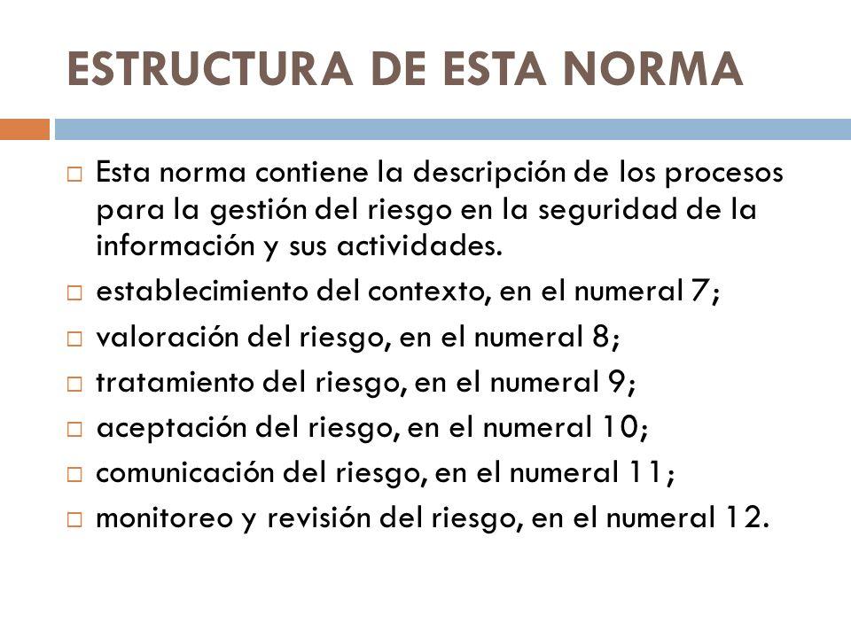 ESTRUCTURA DE ESTA NORMA
