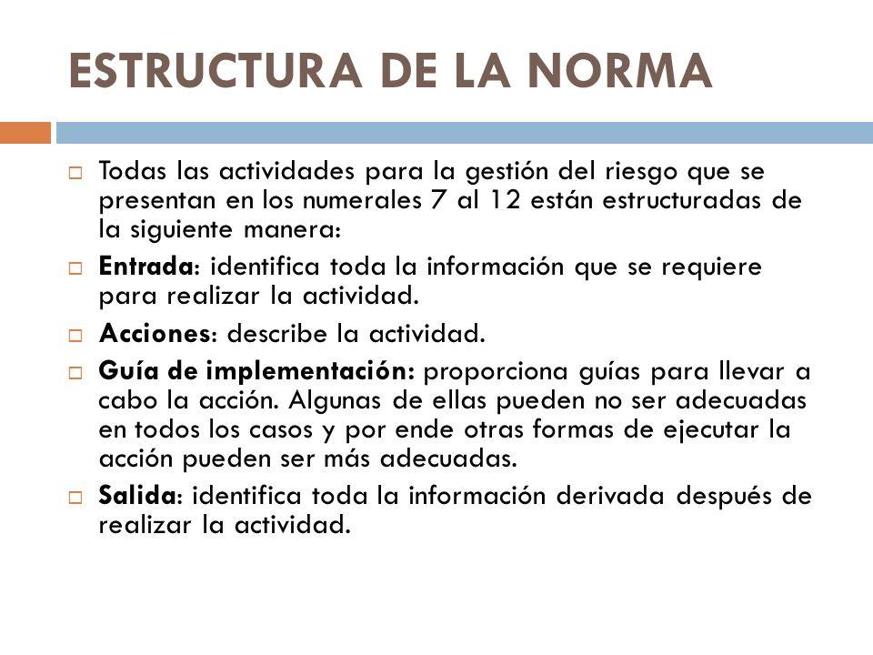 ESTRUCTURA DE LA NORMA