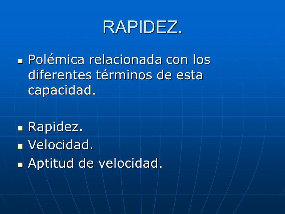 RAPIDEZ. Polémica relacionada con los diferentes términos de esta capacidad.