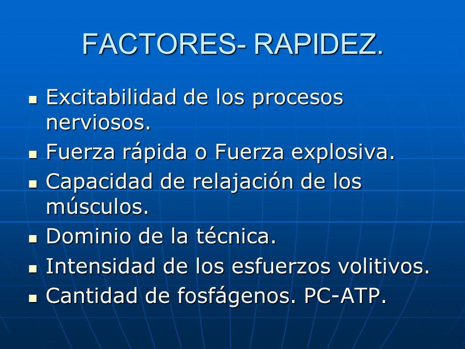 FACTORES- RAPIDEZ. Excitabilidad de los procesos nerviosos.