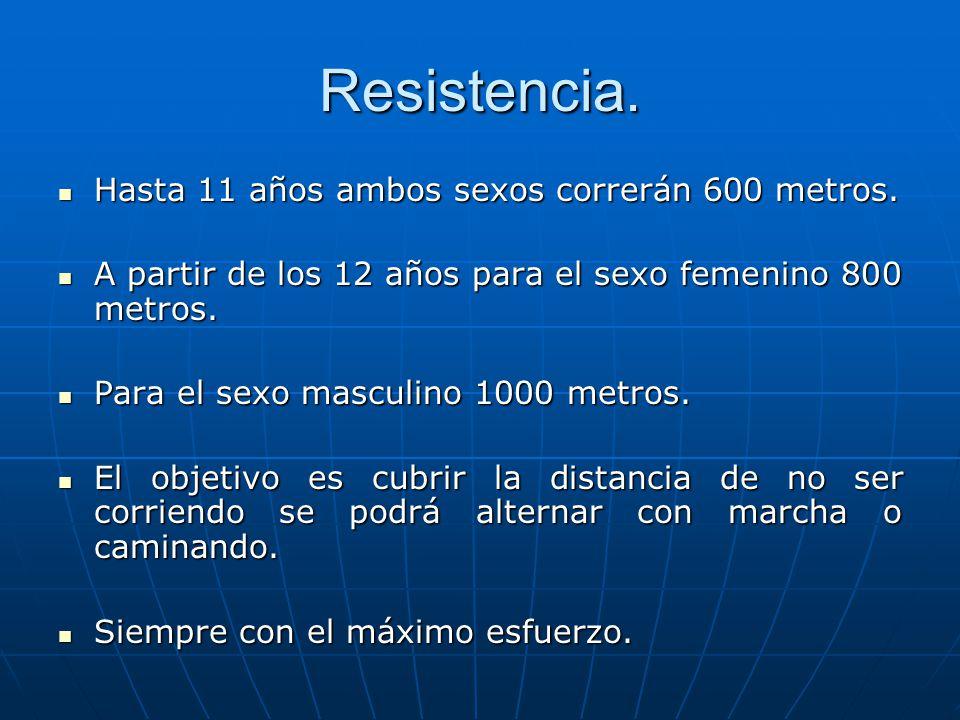 Resistencia. Hasta 11 años ambos sexos correrán 600 metros.