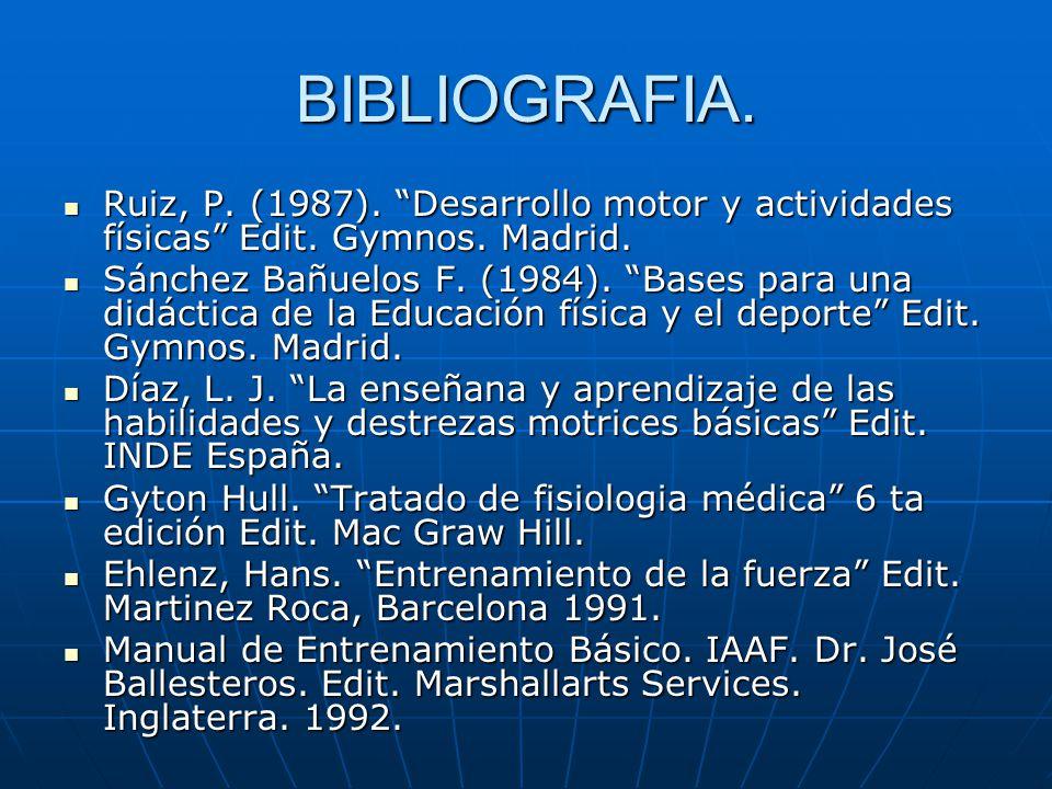 BIBLIOGRAFIA. Ruiz, P. (1987). Desarrollo motor y actividades físicas Edit. Gymnos. Madrid.