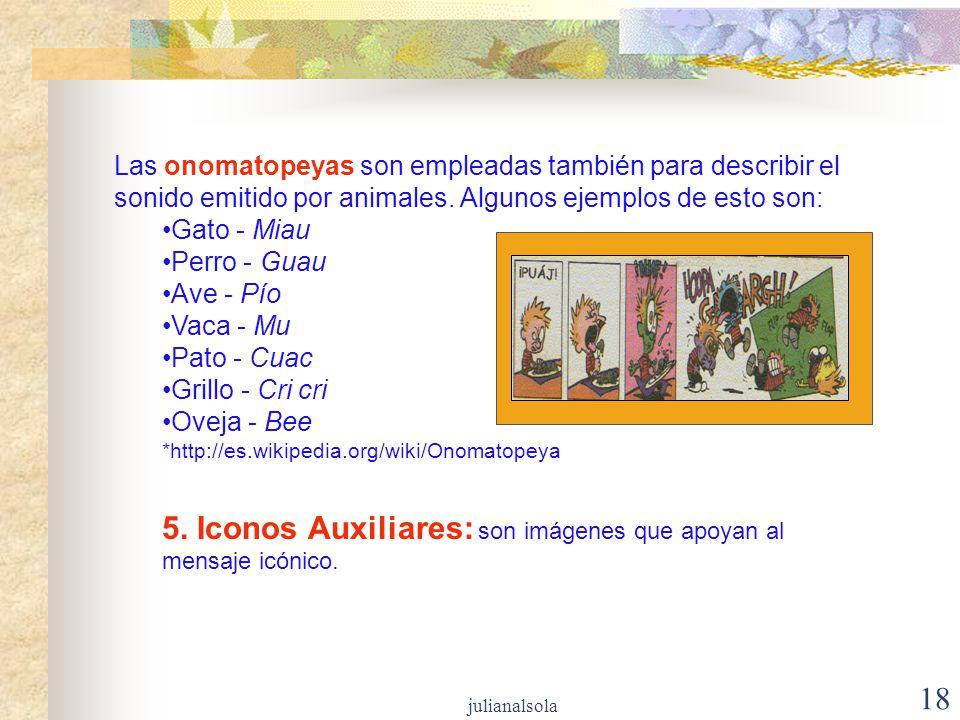 5. Iconos Auxiliares: son imágenes que apoyan al mensaje icónico.