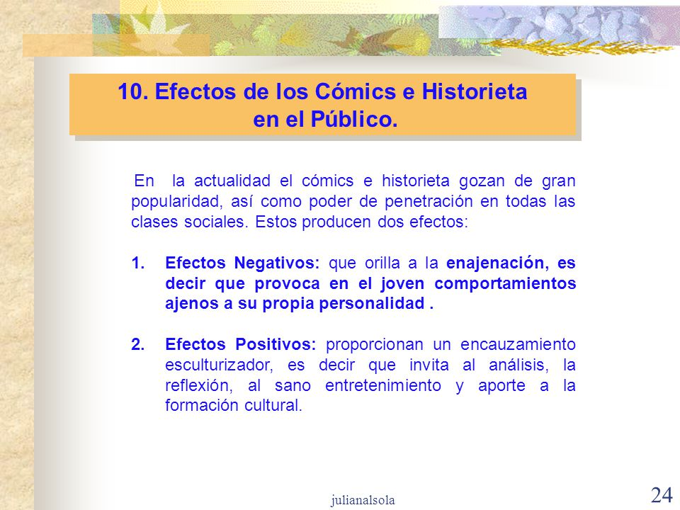 10. Efectos de los Cómics e Historieta