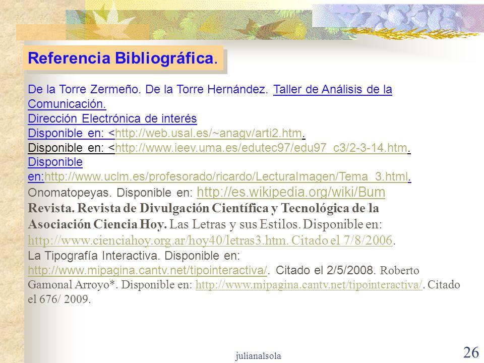 Referencia Bibliográfica.