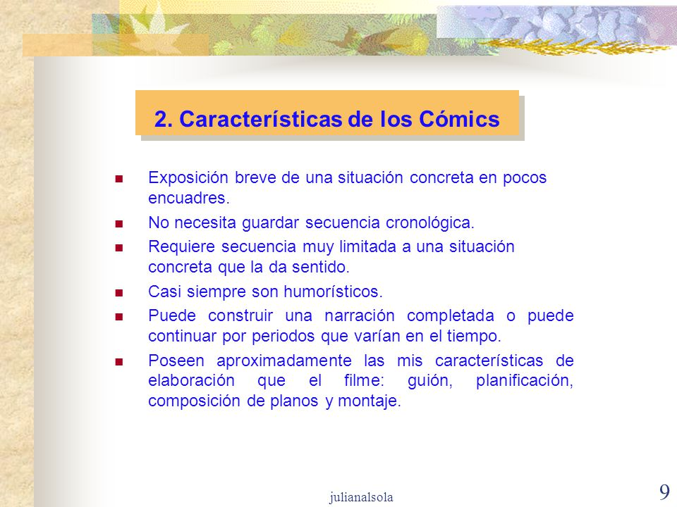 2. Características de los Cómics