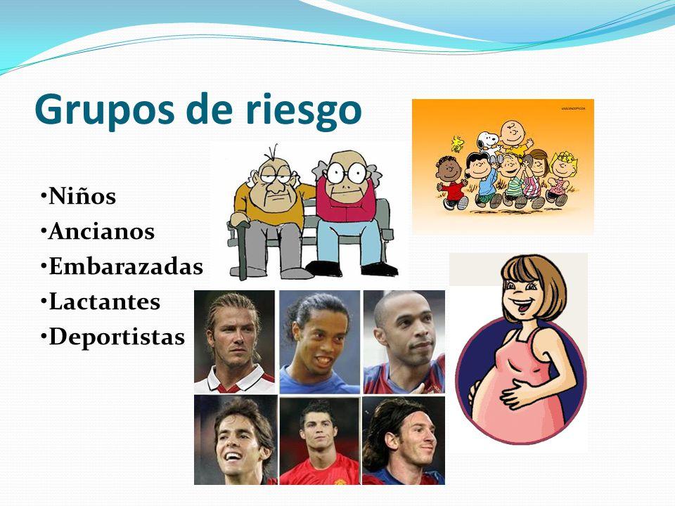 Grupos de riesgo •Niños •Ancianos •Embarazadas •Lactantes •Deportistas