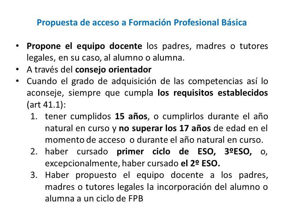 Propuesta de acceso a Formación Profesional Básica