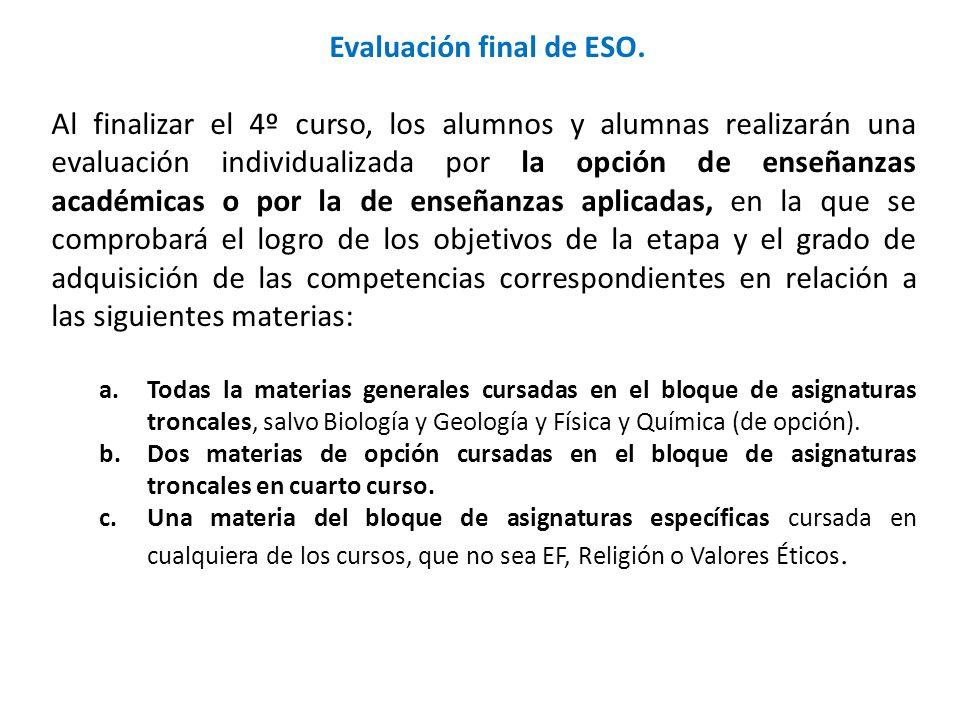 Evaluación final de ESO.